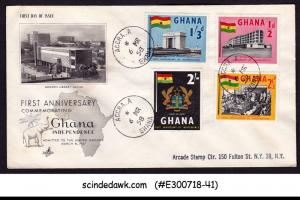 GHANA - 1958 FIRST ANNIVERSARY OF INDEPENDENCE FDC REGISTERED