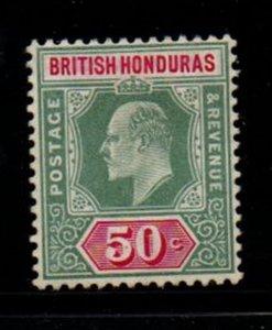 British Honduras Sc 68 1906 50c green & carmine rose Edward VII stamp mint