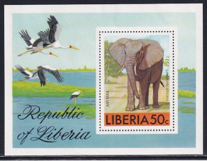 Liberia 1976 Sc C213 Endangered Species Elephant Ivory Tusks Poach Stamp SS MNH