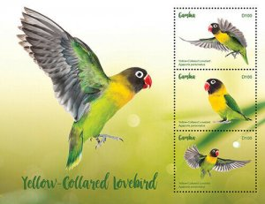 2020/11- GAMBIA - YELLOW LOVEBIRDS      3V complet set    MNH ** T