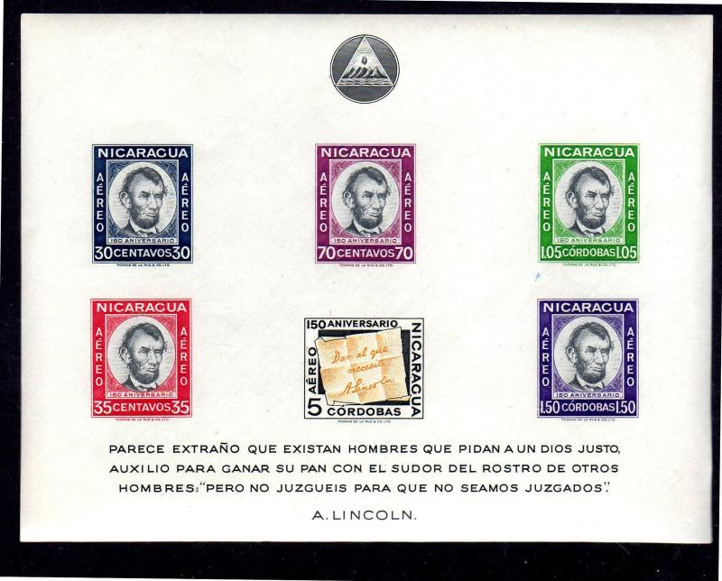 NICARAGUA #C442a  1959 ABE LINCOLN  MINT  VF NH  O.G S/S OF 6 IMP.