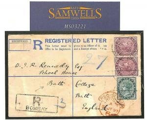 INDIA Bombay REGISTERED Cover GB Somerset Bath *College* 1897 {samwells} MS3221