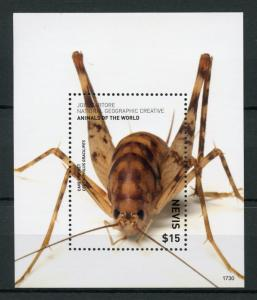 Nevis Insects Stamps 2017 MNH Wild Animals of World Cave Cricket Crickets 1v S/S