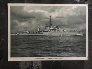 1939 Germany Kriegsmarine RPPC Feldpost Postcard Cover Destroyer 52 Hermann Kunn