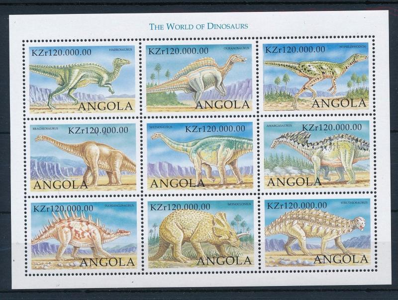 [31520] Angola 1998 Pre historic animals Dinosaurs MNH Sheet