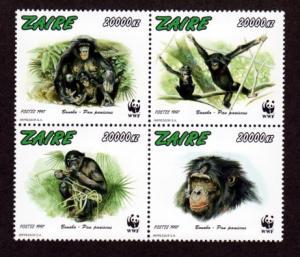 Zaire 1466 Mint NH MNH Flora Fauna Chimps WWF!