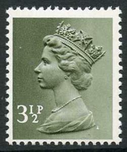 U117 1971 3.5p olive-grey OCP/DEX off-white paper greenish tint dextrin gum