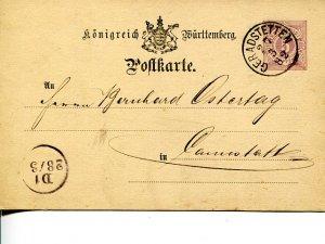 Wuerttemberg 1882  Postcard  VF    - Lakeshore Philatelics