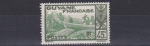 FRENCH COLONIES GUIANA  1929 - 39   45C  GREEN & YELLOW GREEN     MH