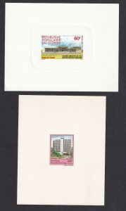 FRANCE CONGO DELUXE PROOFS x2 60Fr, 100Fr BUILDINGS ONE DIE PROOF #9
