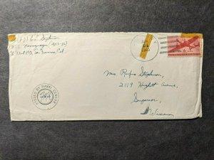 USS NARRAGUAGAS AOG-32 Naval Cover 1945 Censored Sailor's Mail RYUKYU ISLANDS