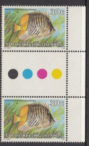 Cocos Islands 43 gutter pair MNH