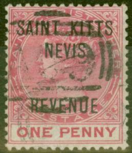 St Kitts & Nevis 1885 1d Rose SGR3 Fine Used