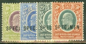 B: East Africa & Uganda 34, 36-8 mint SPECIMEN overprints (Gibbons x2.5) CV $215