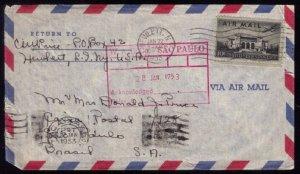 US Scott #C34 Entire Cover Hewlett NY to Brasil 1953 VF
