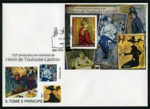 SAO TOME 2021 120th MEMORIAL OF HENRI TOULOUSE-LAUTREC PAINTINGS S/S FDC