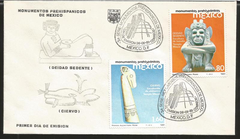 A) 1981 MEXICO, DEITY SEDENT, DEER HEAD, MAIN TEMPLE, PYRAMID, PREHISPANIC MONUM