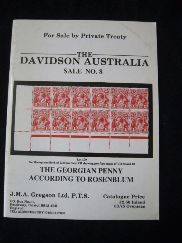 GREGSON CATALOGUE THE DAVIDSON AUSTRALIA 8 GEORGIAN PENNY ACCORDING TO ROSENBLUM