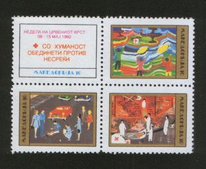 MACEDONIA-MNH** BLOCK OF 4 STAMPS-RED CROSS-1992.