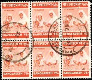 Women Picking Tea, Bangladesh stamp SC#50 used, block 6