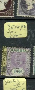 GAMBIA (P1412B) KE   SG 76, 82  VFU  ANTIQUE OVER 100 YEARS OLD