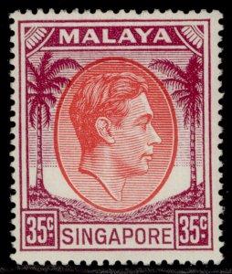 SINGAPORE GVI SG25a, 35c scarlet & purple, LH MINT. Cat £12.