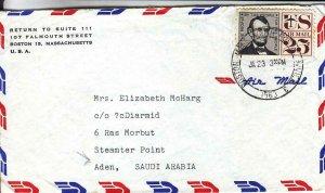 1963, Boston, MA to Aden, Saudi Arabia, Airmail, See Remark (37435)