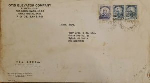 A) 1935, BRAZIL, FROM RIO OF JANEIRO TO SAO SALVADOR, AIRMAIL, RUY BARBOSA AND E