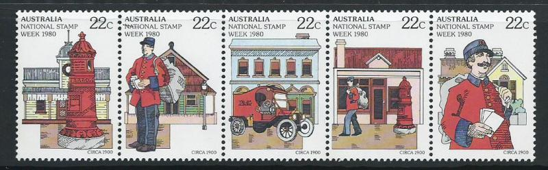 Australia SG 752  SC# 755b  MUH se-tenant strip of 5 National Stamp Week