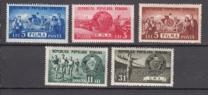 J27568 1950 romania set mh #759-63 sports