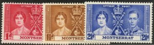 Montserrat, Scott #89-91, Unused, Hinged