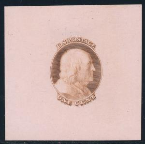 #63-E2d DIE ESSAY ON COLORED PAPER -- BROWN, PINK -- XF-SUPERB BQ4597