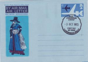 GB 1973 Welsh Dress 6p Air letter First Day of Issue VGC