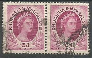 RHODESIA & NYASALAND, 1954, used 6p, Queen Elizabeth II, Scott 147