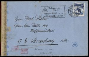 3rd Reich Swiss Volunteer Heimat-Front Feldpost Cover France 70280