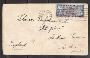 Newfoundland #C12 VF Used On Cover To St Johns