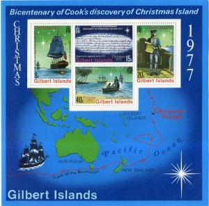 GILBERT & ELLICE ISLANDS 303a MNH S/S SCV $9.00 BIN $5.00 MAP