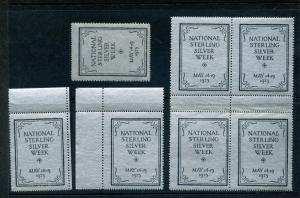7 VINTAGE 1925 NATIONAL STERLING SILVER POSTER STAMPS (L761) MAY 14-19, 1925