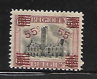 BELGIUM, 143, MINT HINGED, SURCHARGED IN RED
