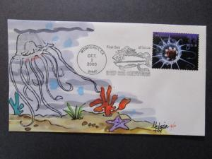 US - Melissa Fox Hand Painted FDC 6 of 10 / 2000 Sea Life (SC# 3443) - Z7348
