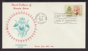 Canada 419 Flower Coat of Arms Quebec U/A FDC