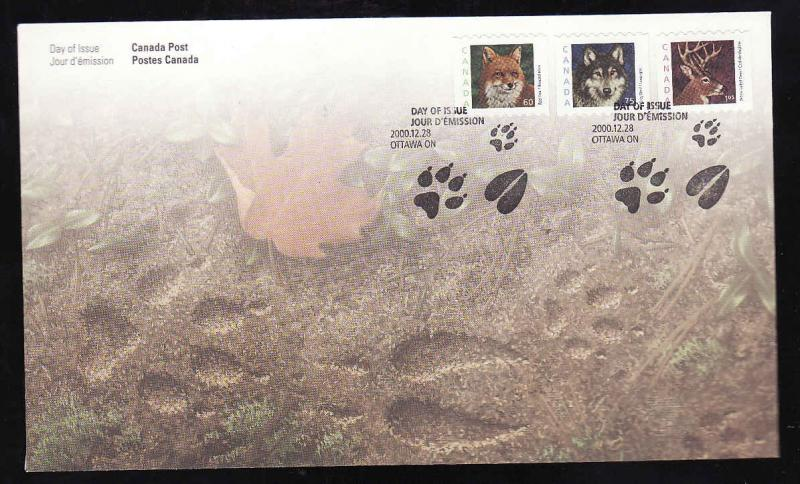 Canada-Sc#1879-81-coil stamps on FDC-Animals-Fox-Wolf-Deer-2000-