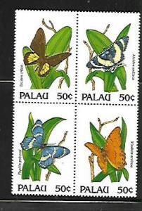 PALAU, 300, MNH, SS, BLOCK OF 4, BUTTERFLY TYPE
