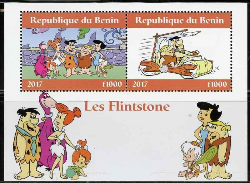 BENIN 2017  THE FLINTSTONES SET OF TWO SHEETS OF TWO  MINT NH