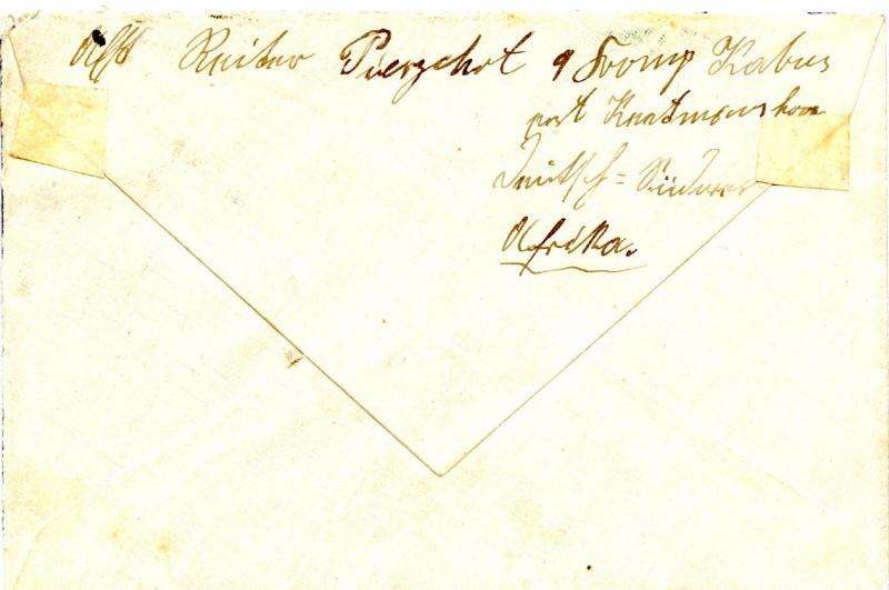 German Southwest Africa, 1910 Cover 5 Pf (2x). Yacht, KOES to Nuernberg