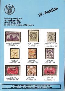 Gotz: Sale # 27  -  27.Gotz-Auktion, Jurgen Gotz  Jan. 16...