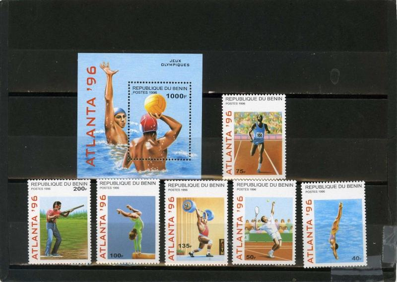 BENIN 1996 SUMMER OLYMPIC GAMES ATLANTA SET OF 6 STAMPS & S/S MNH