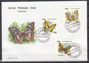 Syria, Scott cat. 1235-1237. Butterflies issue. First day cover. ^