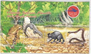 Malaysia Scott 1114  MNH** Wildlife Souvenir Sheet