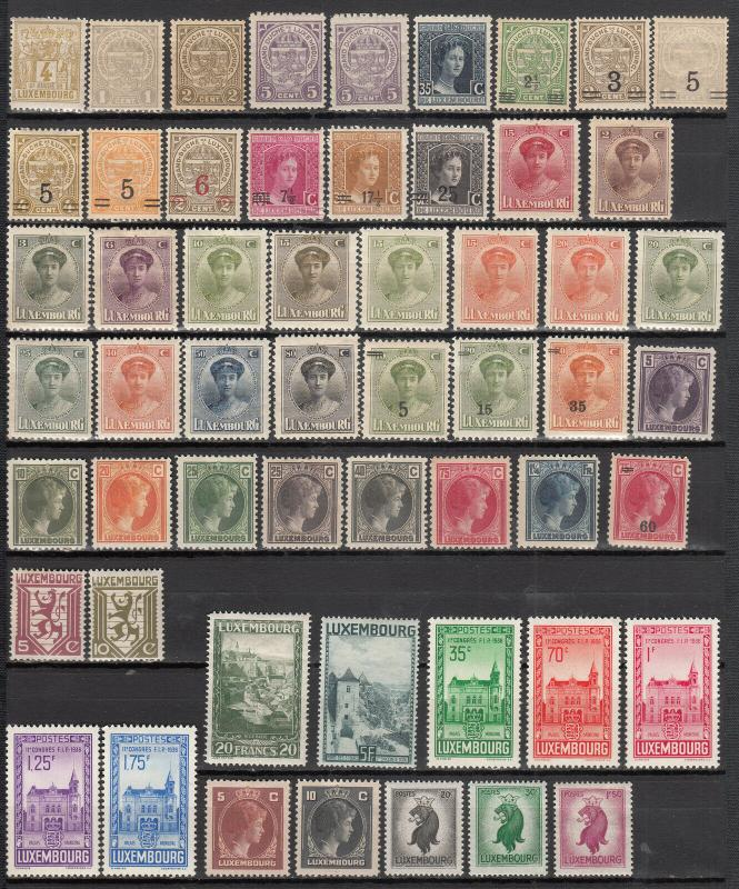 LUXEMBOURG 192 DIFFERENT MINT 50/N23 SEE DESCRIP AREA LIST 2019 SCV $88.35